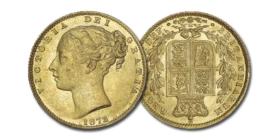 PCGS-graded Sovereign from 1872-M with medallic die alignment