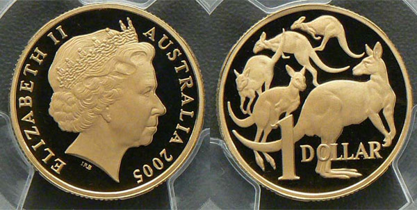 The 2005 Proof Mob of Roos dollar coin graded by PCGS