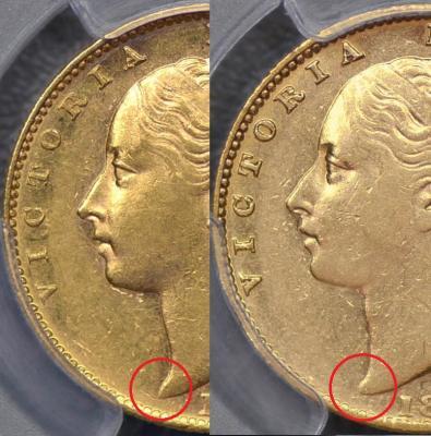 1881-M shield sovereign variety
