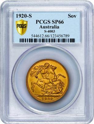 PCGS grades the Australian 1920-S sovereign