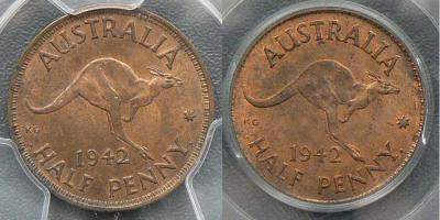 1942-I halfpenny long denticles variety