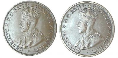 Indian and London (English) penny obverses