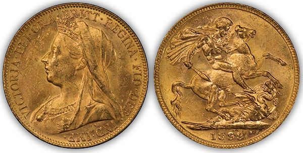 1899P Sovereign PCGS MS63