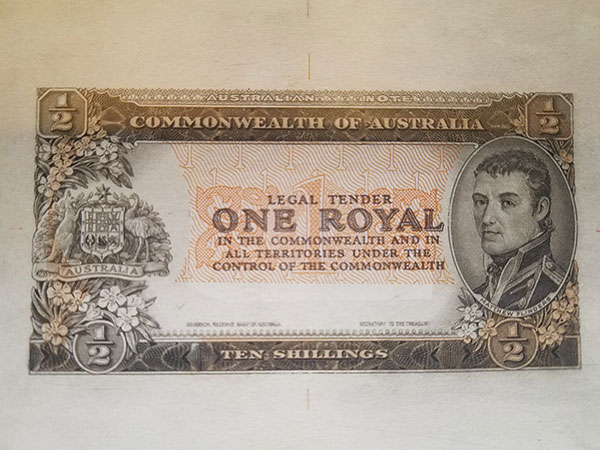 One royal pattern banknote