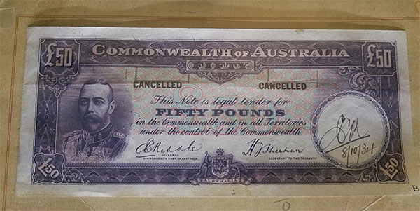 Pattern fifty pound banknote