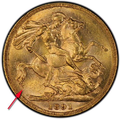 1891-M sovereign short tail