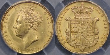 1825 Shield Reverse Sovereign