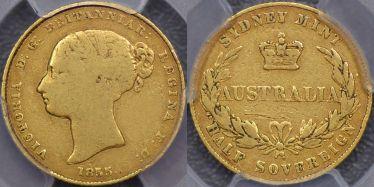 1855 Sydney Mint Half Sovereign