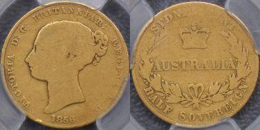 1856 Sydney Mint Half Sovereign