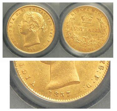 1857/5 Sydney Mint Half Sovereign Overdate