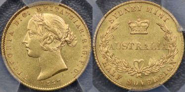 1857 Sydney Mint Half Sovereign