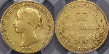 1861 Sydney Mint Half Sovereign