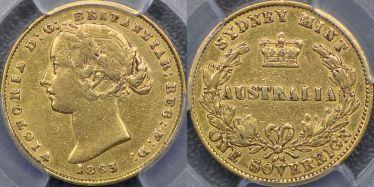 1863 Sydney Mint Sovereign