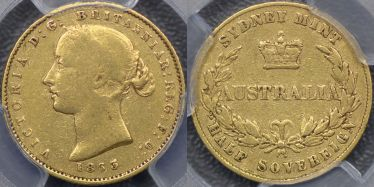 1863 Sydney Mint Half Sovereign