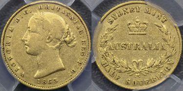 1863 Sydney Mint Half Sovereign