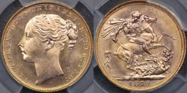 1871 St George Reverse Sovereign with large BP