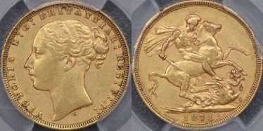 1871 Sydney St George Reverse Sovereign with large BP