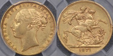1871 Sydney St George Reverse Sovereign with small BP