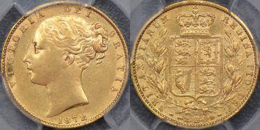 1872/1 Melbourne Shield Reverse Overdate Sovereign