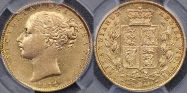 1872 Melbourne Shield Reverse Overdate Sovereign