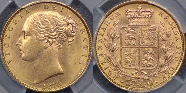 1872 Shield Reverse Sovereign