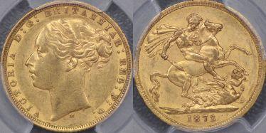 1872 Melbourne St George Reverse Sovereign