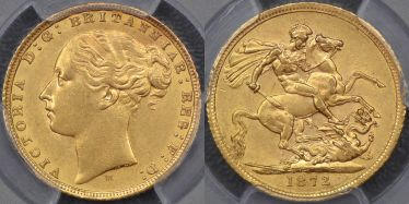 1872 Melbourne St George Reverse Sovereign