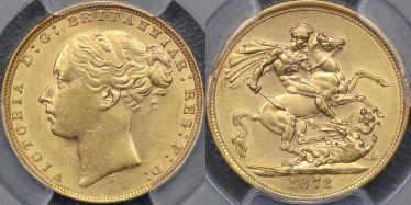 1872 Sydney St George Reverse Sovereign