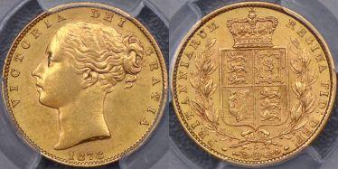 1873 Sydney Shield Reverse Sovereign