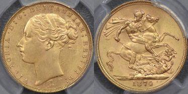 1874 Melbourne St George Reverse Sovereign