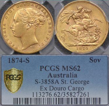 1874 Sydney St George Reverse Sovereign