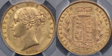 1875 Sydney Shield Reverse Sovereign