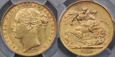 1876 Melbourne St George Reverse Sovereign