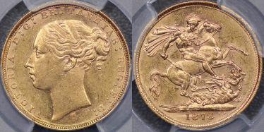 1878 Melbourne St George Reverse Sovereign