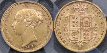 1880 Sydney Half Sovereign with toothed denticles
