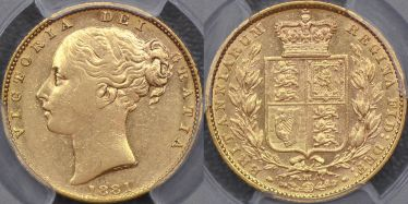 1881 Melbourne Shield Sovereign with second bust
