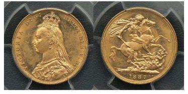 1887 Melbourne Jubilee Head Sovereign
