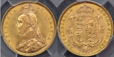 1887 Sydney Jubilee Head Half Sovereign