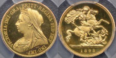 1893 Proof Veiled Head Half Sovereign