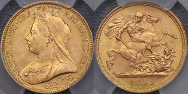 1893 Veiled Head Half Sovereign