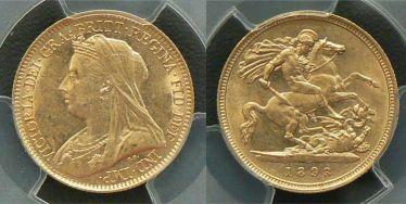 1893 Sydney Veiled Head Half Sovereign