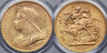 1893 Melbourne Veiled Head Sovereign