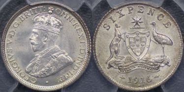 1916 Melbourne Sixpence