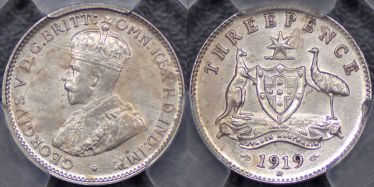 1919 Melbourne Threepence