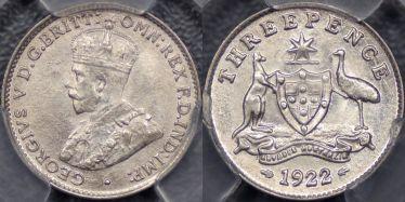 1922 Threepence