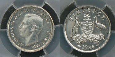 1938 Proof Sixpence