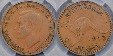 1943 Bombay Penny with long reverse denticles