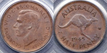 1945 Perth Halfpenny with dot after Y