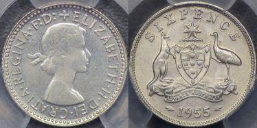 1955 Sixpence