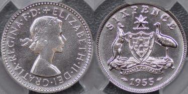 1955 Proof Sixpence